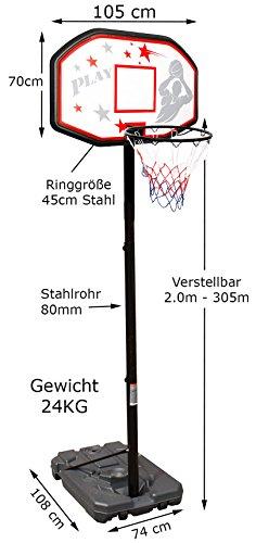 Basketballkorb Mobil Basketballständer Basketball Streetball Korb Ball 205-305cm Ständer 305 cm