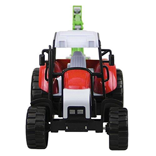 Liying 1:32 Diecast Modell LKW Spielzeug Baufahrzeug Bauer Bauernhof Fahrzeug Traktor Spielzeugauto mit Scheinwerfer und Musik Geschenk für Kinder Junge Rot