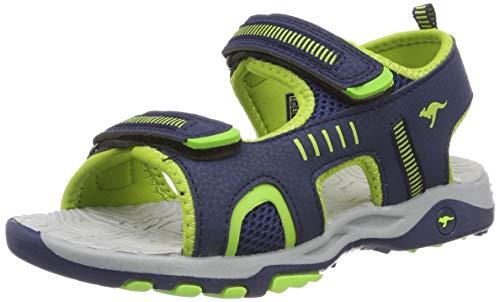 KangaROOS Unisex-Kinder K-Logan Sneaker, Blau (Dk Navy/Lime 4054), 33 EU