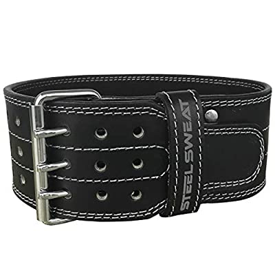 """Powerlifting Belt by Steel Sweat for Weight Lifting - 4"""" Wide by 5mm Thick - Triple Prong - Heavy Duty Adjustable Weightlifting Belt, Leather - CLAW Black Small"""