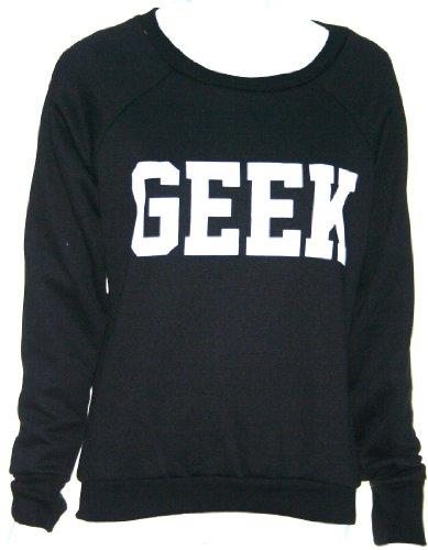 Flirty Wardrobe Pull pour femme Imprimé GEEK Sweat Noir/gris Tailles 36–42 Noir - Noir
