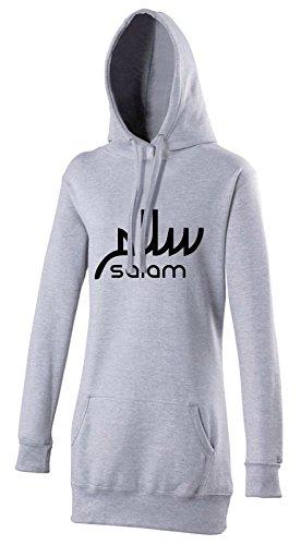 Marokkanische Kleidung Für Frauen (Salam Arabische Schrift Halal Damen Kapuzenpulli in Grau - Islamische Streetwear Kleidung von Halal-Wear Extra Lang und als Hijab geeignet Muslima (S))