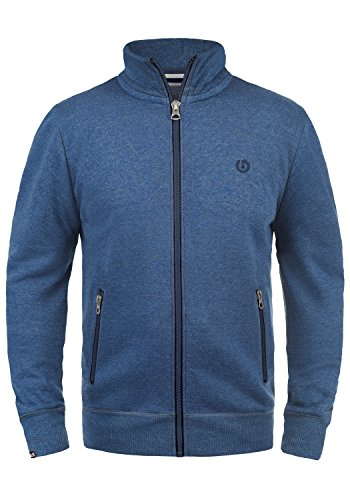 SOLID BennTrack Herren Sweatjacke Zip-Jacke mit Stehkragen aus hochwertiger Baumwollmischung Meliert, Größe:XL, Farbe:Faded Blue Melange (1542M) (Zip Sweater)