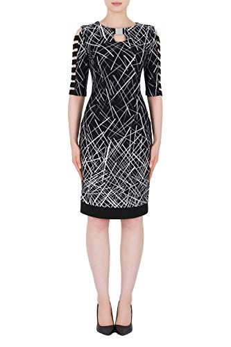 Joseph Ribkoff Black Silver Dress Style 184832 14 UK