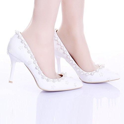 Si& Scarpe da sposa donna / damigella d'onore e sposa / Rhinestones / Stiletto Heel / punta punta / sandali con tacco alto / scarpe da ballo bianco 9CM