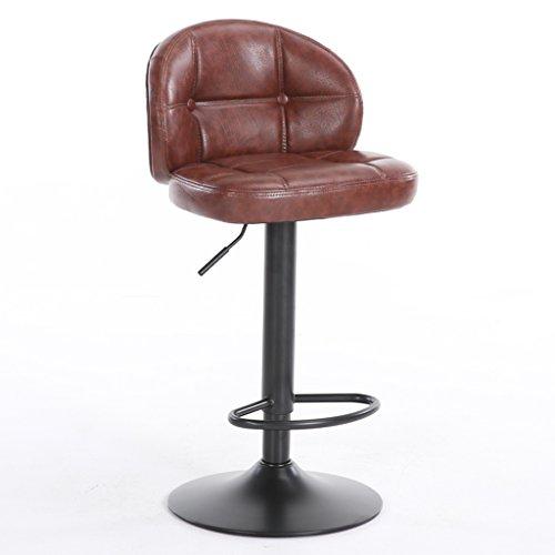 Guo shop- Style européen, coussins moelleux, peuvent être élevés et abaissés Cuir artificiel Coussin Bar Creative chaise haute Style européen chaise en bois Vintage tabouret de bar Hauteur 63-83cm Bon