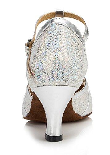 F&M Fashion - Sandali con Zeppa donna 6cm Glitter Silver
