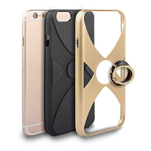 EKINHUI Case Cover Dual Layer PCSlim Soft TPU Back Cover Hybrid Armor Shockproof Gehäuse mit Finger Ring Kickstand für iPhone 6 Plus & 6s Plus ( Color : Silver ) Gold