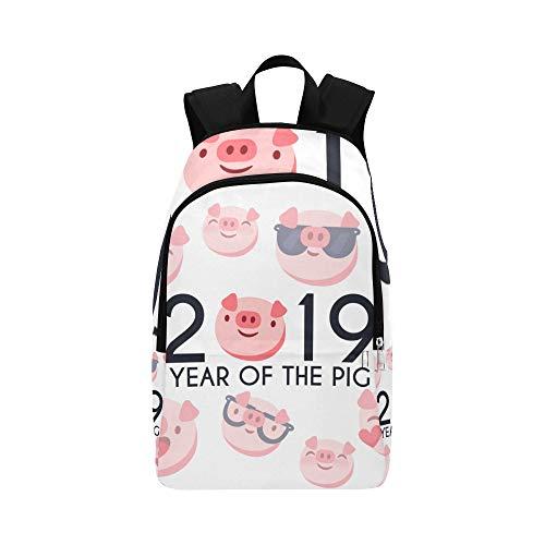 (Lustige Ferkel 2019 Frohes Neues Jahr Lässige Daypack Reisetasche College School Rucksack Für Männer und Frauen)