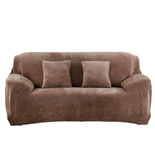 Dicke Sofaüberzüge,Sofa Überwürfe 1/2/3/4-Sitz-Überwurf, Sofa Schutzüberzug aus SAMT. einfache Passform, Stretch-Material,Kamel-3 Sitzer:190-230cm
