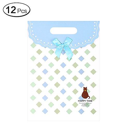 Jia HU 12kleine Animal Geschenktüten mit Griffe Schleife Aufbewahrung Tasche für Tuch Party Presents blau (Tuch Bulk-lebensmittel-beutel)
