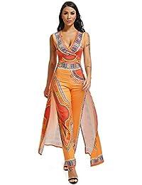 8e4f39963f1 Femmes Sans Manches V Cou Africain Imprimé Moulante Party Clubwear Robe  Combinaisons Barboteuses ...