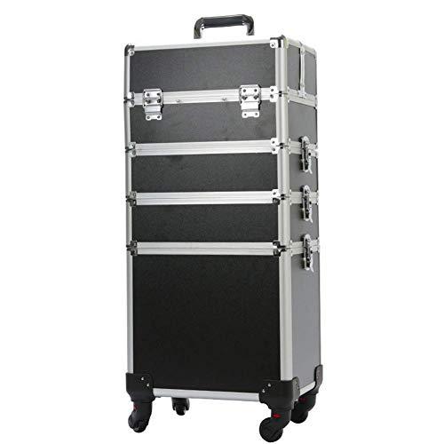 DDOQ Ordentlich Rollen Aluminium Make-up Reise Fall Trolley Künstler Zug Kosmetische Gepäck Nagel Organizer Box mit 4 Abnehmbare Universalräder (Farbe : Black, Größe : 4T) Set 2t 4t-sets