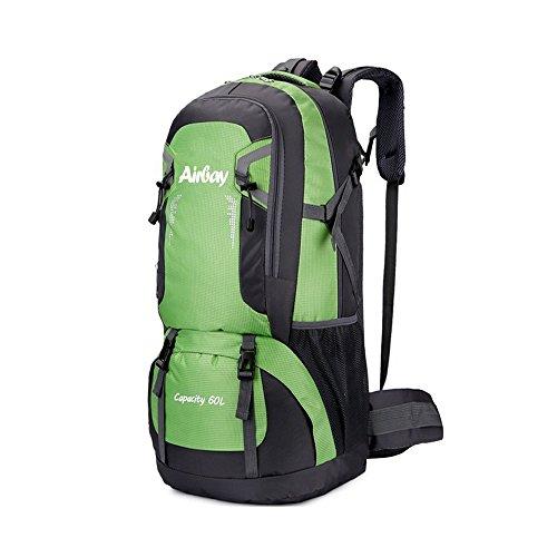 Großer 60L Wasserdichter rucksäcke,Airbay Outdoor TrekkingRucksack Herren Rucksack perfekt zum Wandern Bergsteigen Reisen und für Sport und Camping (Grün)