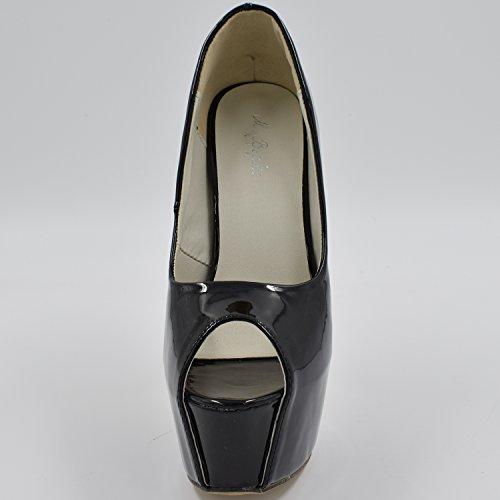 Oasap Femme Chaussure Escarpin Sexy A Talons Hauts Talons Aiguilles A Enfiler Bout Ouvert Noir