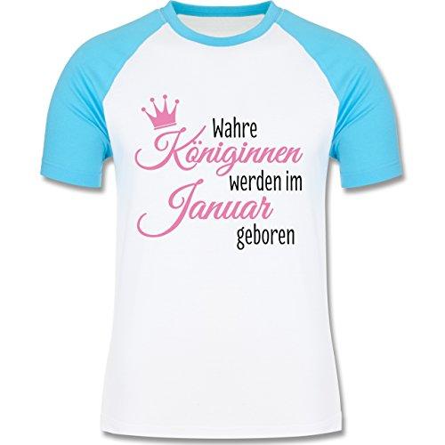 Geburtstag - Wahre Königinnen werden im Januar geboren - zweifarbiges Baseballshirt für Männer Weiß/Türkis