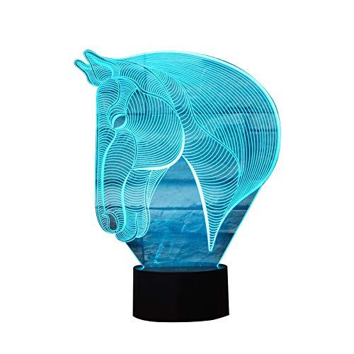 3D Nacht Lampe LED Neuheit Tier 7 Farbe ändern Tisch Lampe spielzeug Geschenk Pferdekopf lampe