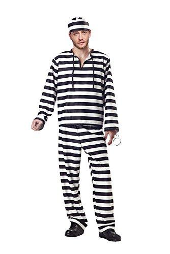 Manfis Sträfling Kostüm - der Mann vom Gefangenen Paar, Hemd, Hose, Mütze, Herren Größe XL (Der Gefangene Kostüm)