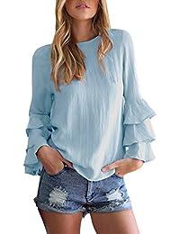 StyleDome Blusa Camisa Camiseta Mujer Mangas Largas Volante Elegante Oficina Casual Moda