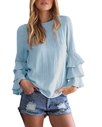 StyleDome Mujer Camiseta Mangas Largas Volantes Lunares Blusa Elegante Noche Casual Oficina Azul EU 44