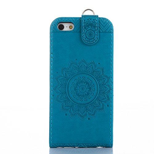 iPhone 55S se pc éclat brillant strass Coque, newstars stéréo papillon Couronne Bling Glitter cristal diamant Transparent Plaqué pare-chocs protection d'écran transparent coque arrière pour iPhone 5/ Mandala Blue