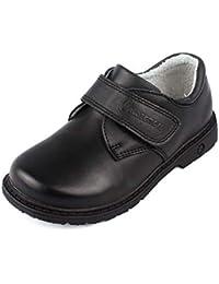 a6020dd1ac4 MK MATT KEELY Boys Easy Fasten School Shoes for Formal Uniform Black Size  9.5-4
