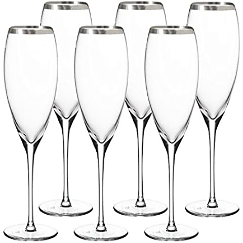 Culinary Concepts-Set di 6 flute per Champagne in cristallo, colore: argento
