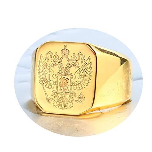 Bishilin Edelstahlring Herren Punk Gold Adler Rechteck Partnerring Männer Ring Größe 65 (20.7) (Gold Füllen Ehering)