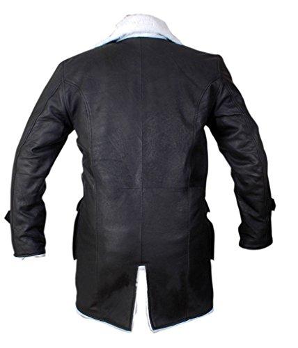 F&H Men's Bane Genuine Stonewash Leather Shearling Coat Black