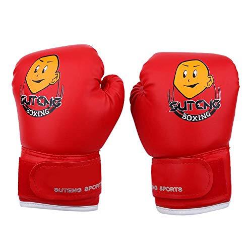 Dilwe 1 Paio di Guanti da Boxe, guantoni da Boxe in Pelle PU Junior per Gli Studenti Famiglia 3-10 Anni Regalo di Natale per Bambini(Rosso)