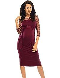 STRIR Vestido de Ropa premamá de Mujer,Vestir de Maternidad de Color Puro de Manga Corta Embarazada con Encaje a Lunares