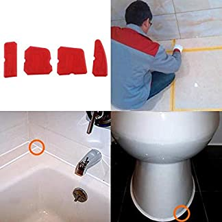 4 Unids Herramienta de Calafateo Rojo Calafateo Acabado Sellador de juntas Eliminador de lechada de silicona Rascador Limpiador de azulejos para baño Cocina