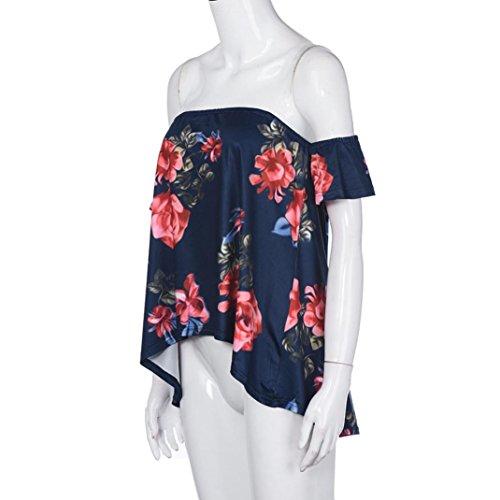 WOCACHI Damen Sommer Tops Frauen Reizvolles weg vom Schulter-Kurzschluss Hülsen Rot Blume druckte elegantes Oberseiten Blusen T-Shirt Schwarz Schwarz