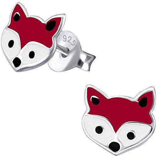 JAYARE Kinder Ohrstecker Fuchs 925 Sterling Silber rot weiß Mädchen Ohrringe (Sorge Gemeinsame Kraft Die)