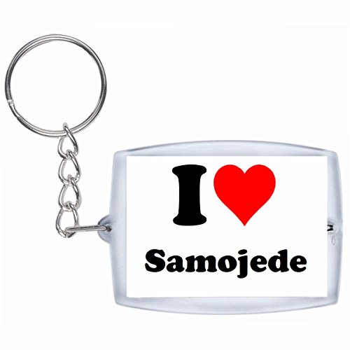 Druckerlebnis24 Schlüsselanhänger I Love Samojede in Weiss, eine tolle Geschenkidee die von Herzen kommt| Geschenktipp: Weihnachten Jahrestag Geburtstag Lieblingsmensch -