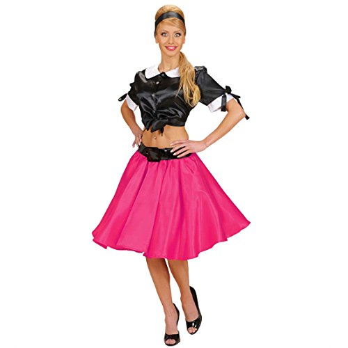 (Amakando Petticoat Rock 50er Jahre Tellerrock pink Rock 'n' Roll Damenrock Rockabilly Satinrock Fifties Retro Stoffrock Grease Midirock Knielang)
