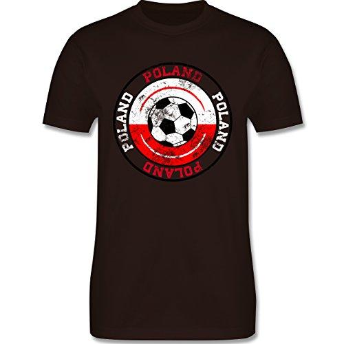 EM 2016 - Frankreich - Poland Kreis & Fußball Vintage - Herren Premium T-Shirt Braun