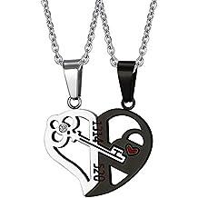 Vnox-2 portachiavi con cuore spezzato Puzzle da collana con pendente in acciaio INOX per coppia, con catenina