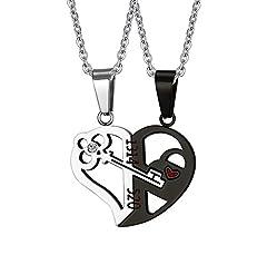Idea Regalo - Vnox 2Love, ciondolo per collana da uomo o donna, a forma di cuore a incastro, con chiave interna, con catenina (lingua italiana non garantita), acciaio inox(A), cod. CN-059SB