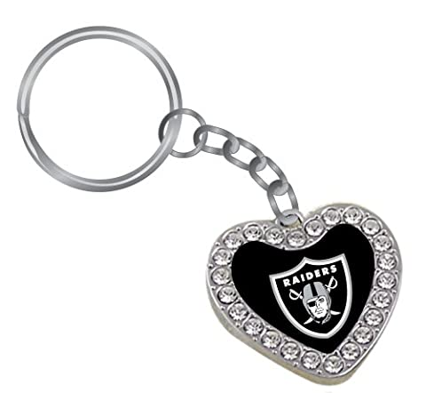 NFL Oakland Raiders Reversible Crystal Heart Key Tag