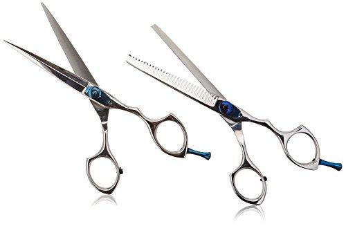 Suvorna Razpro 2 Piece Professional Barber Razor Edge Hair Cutting Shears/Scissors Set, Polished Steel by Suvorna Shear Blade Set