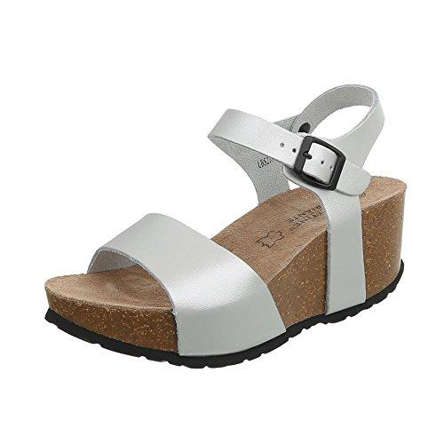 Ital-Design Keilsandaletten Leder Damen-Schuhe Keilabsatz/Wedge Schnalle Sandalen & Sandaletten Silber, Gr 39, Lbs2193- - Sandalen Schuhe Wedges Frauen