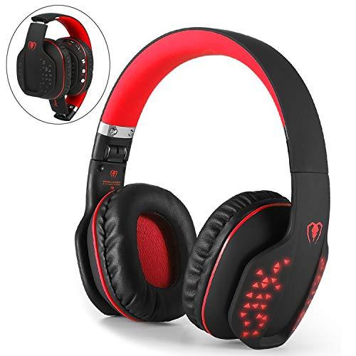 Beexcellent Casque Bluetooth sans Fil Over-Ear, Pliable sans Fil HiFi stéréo Bluetooth 4.1 Casque Effet LED, w/Microphone intégré et Mode Filaire pour PC Portable Tablet TV téléphones (Rouge)