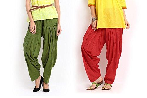 Pistaas Combo Red & Mehendi Green Patiala Salwar