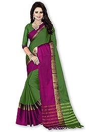 Pranshi Fashion Women's Solid Fashion Cotton Silk Saree With Blouse Piece (Sarees New Collection)