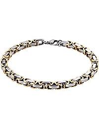 amdxd Ensemble Bijoux Bracelet en acier inoxydable chaîne Messieurs  bicolore Byzantine (Groupe) Chain roi 451b1b79d208