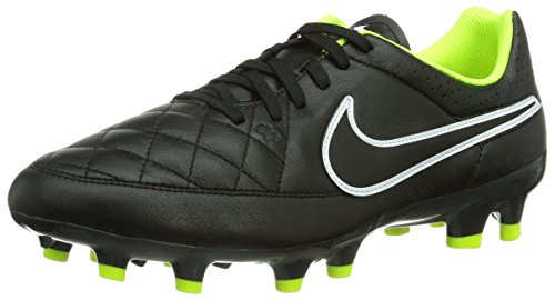 Nike Tiempo Genio Leather FG Homme Chaussures de Football Noir/Blanc