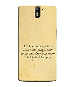 Fuson Designer Back Case Cover for OnePlus One :: OnePlus 1 :: One Plus One (Goals Quotes Quotations Words )