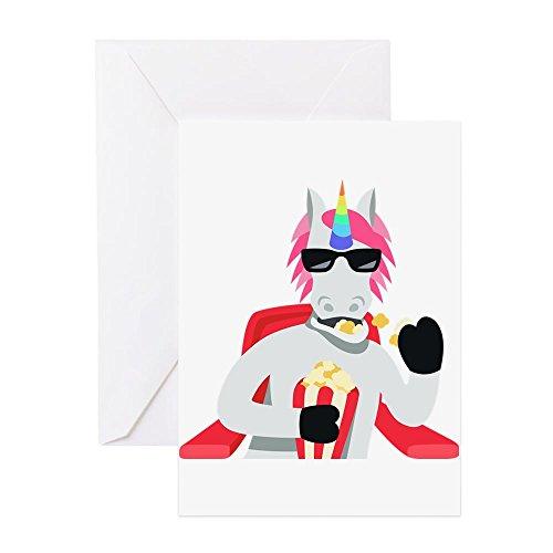 Einhorn Popcorn Essen-Grußkarte, Note Karte, Geburtstagskarte, innen blanko, matt ()