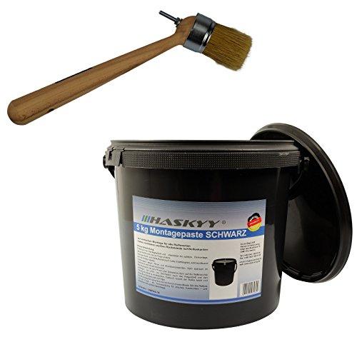 Preisvergleich Produktbild 3kg Reifenmontagepaste Montagewax SCHWARZ + Reifenmontage Pinsel